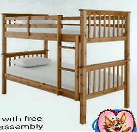 solidwood bunk bed in white and wood colours available free assembly service and delivery
