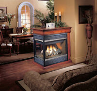 36000 BTU 3 sided fireplace