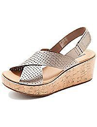 Ladies brand new leather wedge sandals