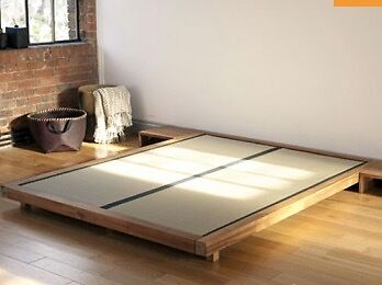 Futon Company Solid Wood Low Platform Bed Tatami Mats And Double Mattress