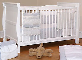 White Sleigh Cot Bed 3 in 1 Cot/Junior Bed/Sofa Bed with mattress