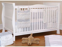 Sleigh 3 in 1 White Cotbed/Junior Bed/ Sofa Bed in box with mattress