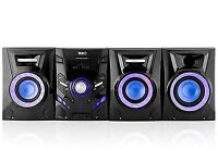 TIBO TI-350. CD HIFI STEREO SYSTEM. WITH LIGHT UP SPEAKERS AND SUBWOOFER. REMOTE.