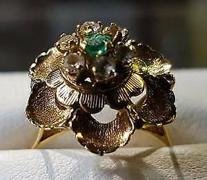 18k Gold flower ring with green stone $449 & other jewelry