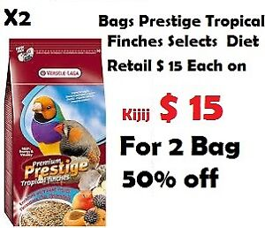 2 Bags Prestige Tropical Finches Selects  Diet total 2 kg $15
