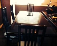 Black Dining Room Table includes 4 High Back Chairs & Light