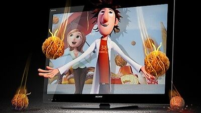 """Cloudy With A Chance Of Meatballs"" being shown on a Sony 3DTV."