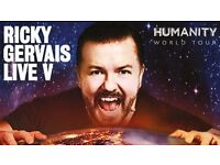 Ricky Gervais tickets 3rd May, THIRD ROW from front!!!