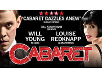 Cabaret show playhouse 15th wed 1430 two tickets
