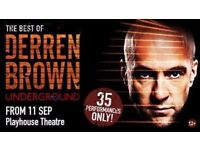 2 x Derren Brown Underground Tickets at the Playhouse Theatre in London on Wednesday 27th September