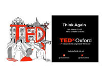Two tickets to TedX Oxford on 4th March - Soldout stalls tickets, Row R by aisle - £47 for both