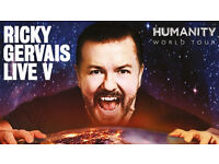 Ricky Gervais Tickets Humanity tour SEC Glasgow STALLS (front section)