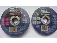 Two packs 115 mm cutting discs for metal and Masonry , brand new, fits most 115 mm angle grinders
