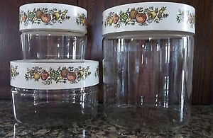 Set of 3 Vintage Pyrex Spice of Life  Storage Canisters