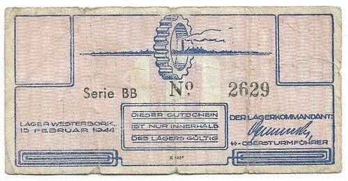 The Netherlands Lagercamp Westerbork 10 Cent 1944