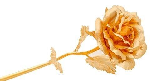 """Gold Dipped Rose 24k 7.5"""" Foil Real Flower Preserved Handmade Valentine Gift Box"""