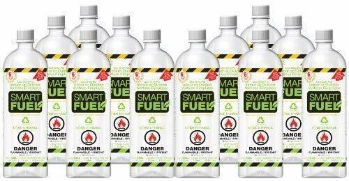 SMART FUEL Indoor Outdoor Burning Ventless Bio Ethanol Fireplace Fuel 12 Liter