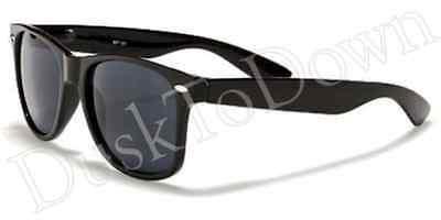 New 100% UV400 Plastic Sunglasses Black Frame Dark Gray Lens Unisex