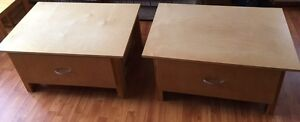 2 wooden end tables w/ drawers