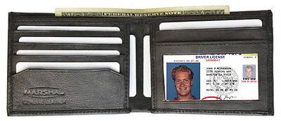 Black Men's Plain Bifold Thin Genuine Leather Wallet ID Credit Card Front Pocket
