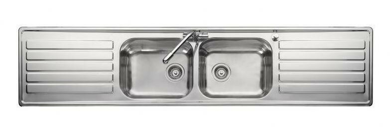 Rangemaster LX84 Luxe double bowl, double drainer, one tap hole ...