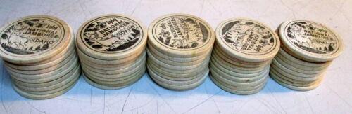 LOT OF 50 BSA BOY SCOUTS 1969 NATIONAL JAMBOREE WOODEN TOKENS NICKELS