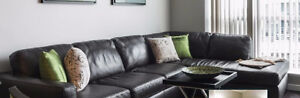 Natuzzi Italian Leather Sectional (Chocolate Brown) - Light used