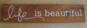 "Rustic Wooden Sign ""Life Is Beautiful"""