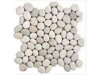 Beautiful white Pebble Natural Stone wall/floor tiles - 5m2 of tiles and grout for only £150