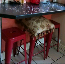 SOLD Metal Kitchen breakfast bar stools Red x 3 from Dunelm Mills