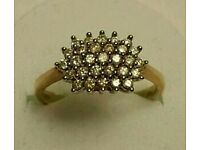 9 ct gold diamond cluster ring