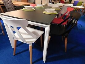 Designer by MOBO Grey Glass Extending Dining Table and 6 Designer chairs RRP£779