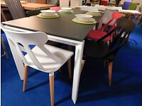 Designer MOBO Grey Glass Extending Dining Table c/w 6 Designer chairs rrp £789