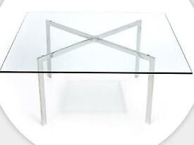 Mies; Barcelona Coffee Table; Glass & Chrome; - Italian made copy (not Knoll) - excellent condition