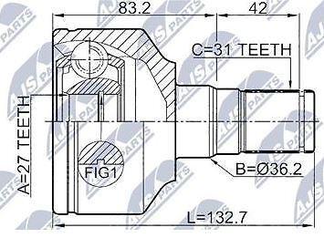 FRONT INNER LEFT CV JOINT VOLVO V70 III 2008-2016, XC60 2009-, XC70 II 2007-