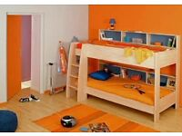 Unisex Children's Bunk bed with shelf/bookcase storage and one mattress