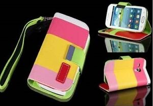 Pink Multi colored Wallet Cases for Samsung Galaxy S3 Mini
