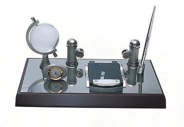 Crystal Globe Office Gift Desk Faux Leather Decoration