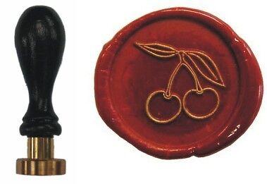 Udig Siegel Stempel Petschaft Kirschen 24 mm Siegelstempel Buchenholzgriff