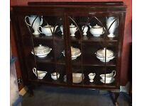1930 antique mahogany display cabinet with bow front.