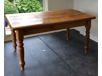 Solid Pine Kitchen Table with Drawer & 4 pine chairs