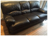 Genuine leather 3 seater black comfy sofa