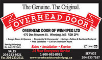 Overhead Door of Winnipeg - Garage Door & Electric Operator Sale