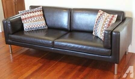 Excellent Condition Ikea SÄter Dark Brown Faux Leather Sofa 2 5 Seater
