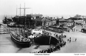 Quality reproduction photograph of Folkestone Harbour, Kent
