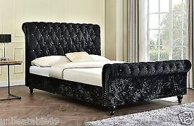 💕 EASTER SALE 💕 Up to 55% Off - Brand New Crush Velvet Sleigh Designer Bed in Double or King Sizes