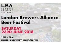 London Brewers Alliance - Beer Festival Tickets - Early Bird Prices - 23rd June 2018 - 2 Tickets