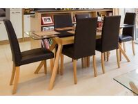 John Lewis Akemi Dining Table & 6 Lydia Leatherette Chairs