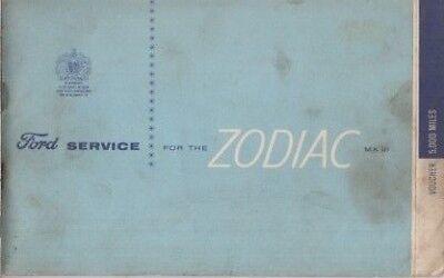 FORD ZODIAC MK3 SALOON 1962- ORIGINAL SERVICE RECORD BOOKLET