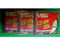 3 x BASF CD-RW's BLANK DISCS - 740min/650mb